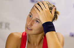 Polona Hercog of Slovenia at press conference after she lost against Anna Chakvetadze of Russia at the first semifinal match of Singles at Banka Koper Slovenia Open WTA Tour tennis tournament, on July 24, 2010 in Portoroz / Portorose, Slovenia. (Photo by Vid Ponikvar / Sportida) / SPORTIDA PHOTO AGENCY