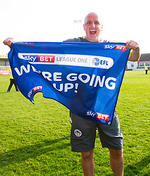 Free to use courtesy of Sky Bet - Wigan Athletic manager Paul Cook celebrates winning promotion to the Sky Bet Championship - Mandatory by-line: Robbie Stephenson/JMP - 21/04/2018 - FOOTBALL - Highbury Stadium - Fleetwood, England - Fleetwood Town v Wigan Athletic - Sky Bet League One