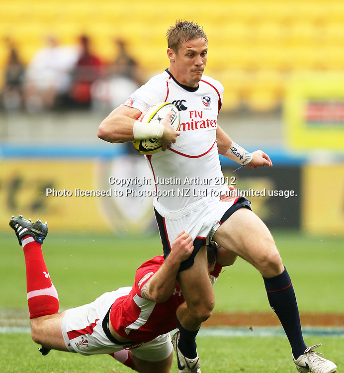 USA's Colin Hawley is tackled by Wales' Rhys Shellard. Hertz Wellington Sevens - Day two at Westpac Stadium, Wellington, New Zealand on Saturday, 4 February 2012. Photo: Justin Arthur / photosport.co.nz