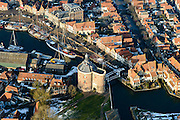 Nederland, Noord-Holland, Enkhuizen, 28-10-2016; centrum van Enkhuizen rond poort De Drommedaris. Oude Haven, Oosterhaven.<br /> Enkhuizen historical city centre.<br /> luchtfoto (toeslag op standard tarieven);<br /> aerial photo (additional fee required);<br /> copyright foto/photo Siebe Swart