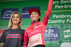 Coryn Rivera (USA) of Team Sunweb celebrates winnig the overall sprint competition after Stage 6 of 2019 OVO Women's Tour, a 125.9 km road race from Carmarthen to Pembrey, United Kingdom on June 15, 2019. Photo by Balint Hamvas/velofocus.com