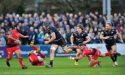 Charlie Ewels of Bath Rugby takes on the Toulon defence - Mandatory byline: Patrick Khachfe/JMP - 07966 386802 - 23/01/2016 - RUGBY UNION - The Recreation Ground - Bath, England - Bath Rugby v RC Toulon - European Rugby Champions Cup.