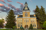The Beaverhead County Courthouse at dusk in downtwon Dillon, Montana, USA