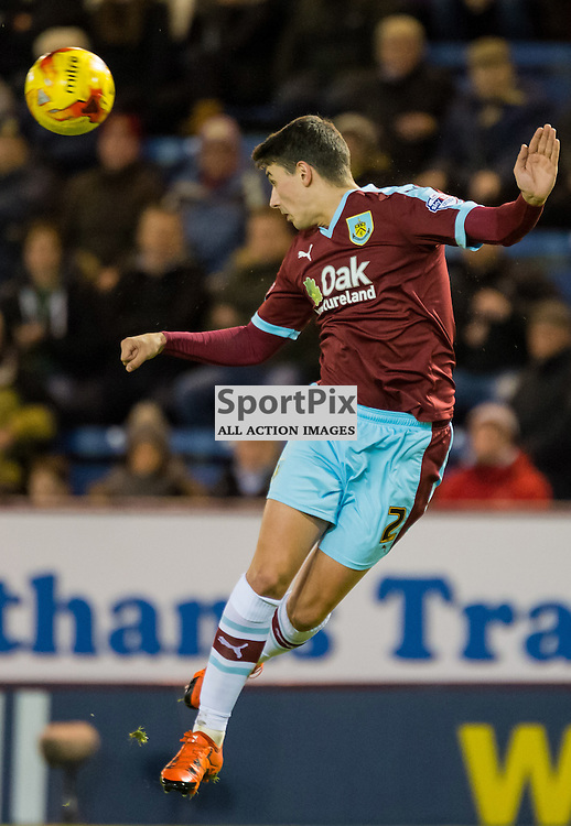 Burnley defender Matthew Lowton (2) heads clear in the Championship match between Burnley and Derby County<br /> (c) John Baguley | SportPix.org.uk