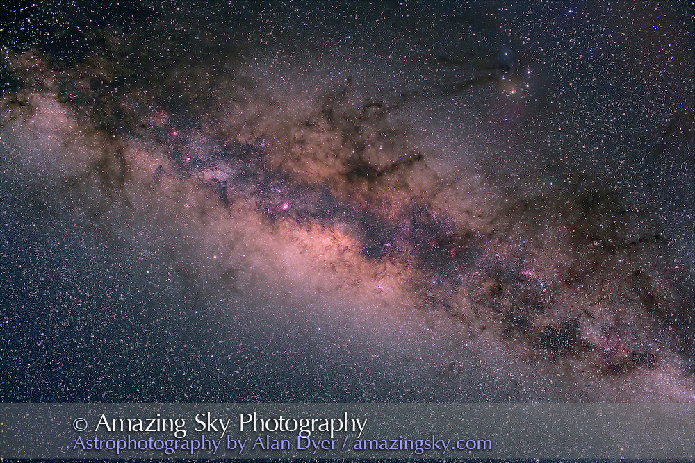 Centre of the Galaxy overhead, with Hutech-modified Canon 5D camera with 35mm f/1.4 Canon L lens set at f/4 for 6 minutes each at ISO400. Stack of 4 exposures, averaged stacked. Taken from Queensland, Australia, June 2006.