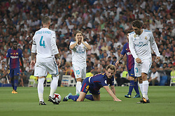 August 16, 2017 - Madrid, Spain - Ivan Rakitinc on the floor. Real Madrid defeated Barcelona 2-0 in the second leg of the Spanish Supercup football match at the Santiago Bernabeu stadium in Madrid, on August 16, 2017. (Credit Image: © Antonio Pozo/VW Pics via ZUMA Wire)
