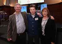 REPRO FREE***PRESS RELEASE NO REPRODUCTION FEE***<br /> Irish Sailing Awards, Royal College of Surgeons, Stephen's Green, Dublin 4/2/2016<br /> National Yacht Club sailor Liam Shanahan was named the 2015 Irish Sailor of the Year today at the Irish Sailing Awards in Dublin - Shanahan had a remarkable year, including victory in the Dun Laoghaire to Dingle race in June on his boat Ruth with two miles to spare.<br /> Kilkenny's Doug Elmes and Malahide's Colin O'Sullivan jointly took home the Irish Sailing Association (ISA) Youth Sailor of the Year award. The Howth Yacht Club sailors were hotly tipped following their recent Bronze medal success at the 2015 Youth World Championships in Malaysia, where they took Ireland's first doublehanded youth worlds medal in 19 years.<br /> The Mitsubishi Motors Sailing Club of the Year award was presented to the Royal Irish Yacht Club in honour of their success at local, national and international level.<br /> Mullingar Sailing Club took home the ISA Training Centre of the Year award, having been nominated as winners of the western-region Training Centre of the Year.<br /> Pictured is Douglas Elmes (Youth Sailor of the Year Nominee) and with his father John and mother Sìle.<br /> Mandatory Credit ©INPHO/Cathal Noonan