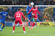 AFC Wimbledon midfielder Max Sanders (23) winning a header during the EFL Sky Bet League 1 match between AFC Wimbledon and Gillingham at the Cherry Red Records Stadium, Kingston, England on 23 November 2019.