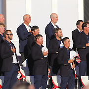 Ryder Cup 2016. Day Three. The United States team during the National Anthem during presentations after the Ryder Cup tournament at Hazeltine National Golf Club on October 02, 2016 in Chaska, Minnesota.  (Photo by Tim Clayton/Corbis via Getty Images)