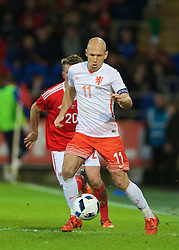 CARDIFF, WALES - Friday, November 13, 2015: The Netherlands' captain Arjen Robben in action against Wales during the International Friendly match at the Cardiff City Stadium. (Pic by David Rawcliffe/Propaganda)