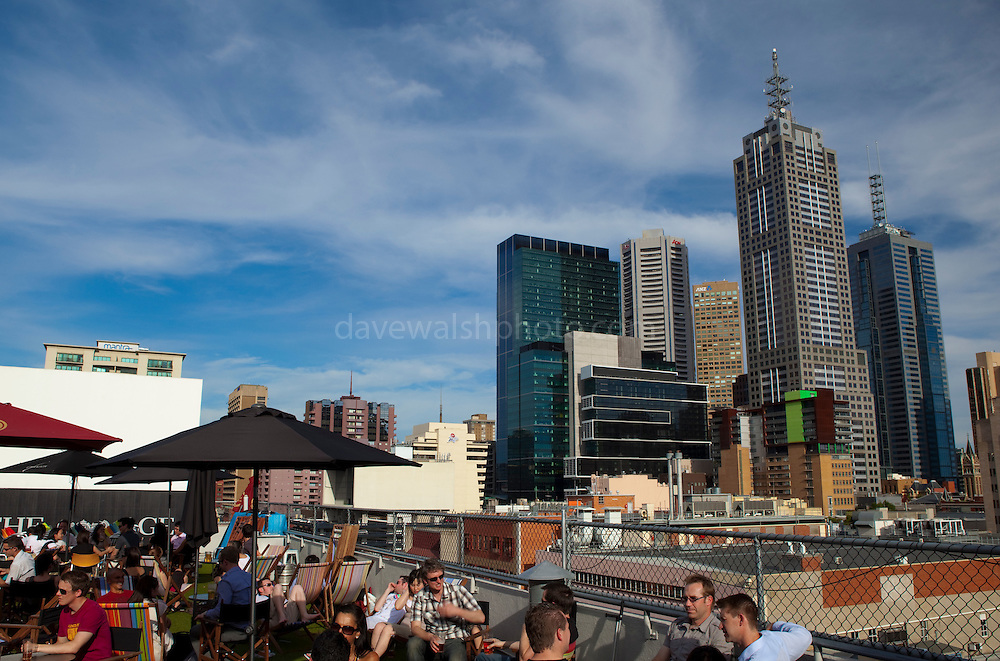 Rooftop bar and cinema, Melbourne Editorial use only.