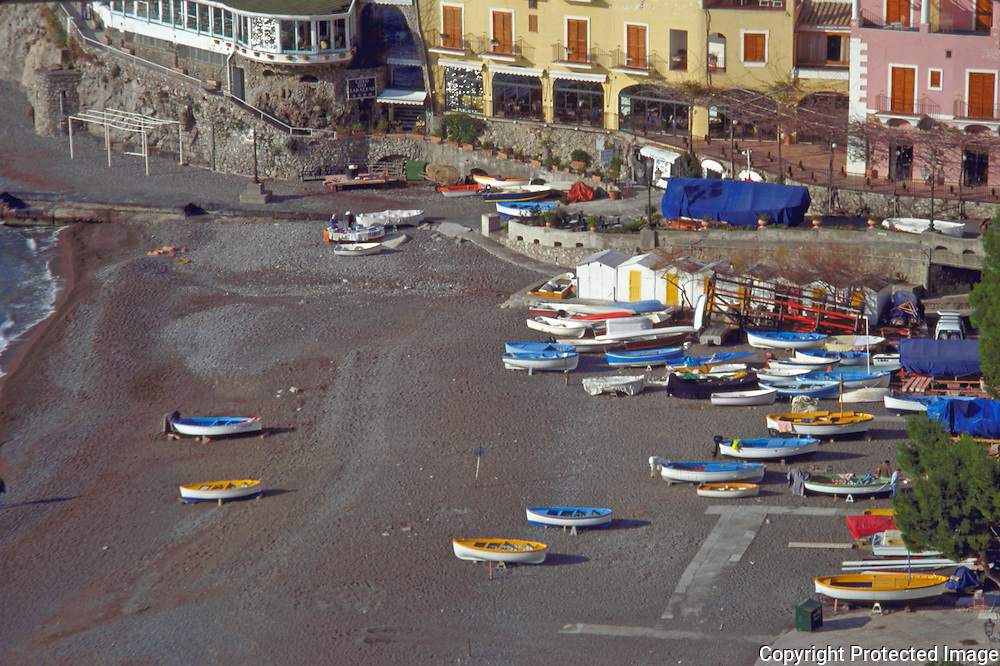 View of Spiaggia Grande in Positano a charming Baroque style village on the Amalfi Coast of Italy in the Region of Campania.