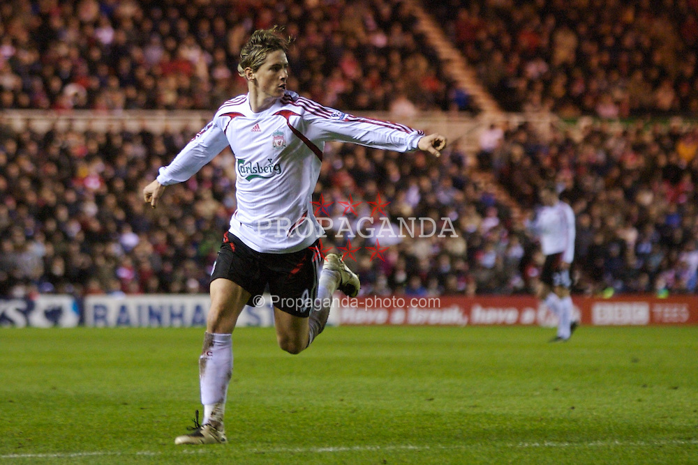 MIDDLESBROUGH, ENGLAND - Saturday, January 12, 2008: Liverpool's Fernando Torres celebrates scoring the equaliser against Middlesbrough during the Premiership match at the Riverside Stadium. (Photo by David Rawcliffe/Propaganda)