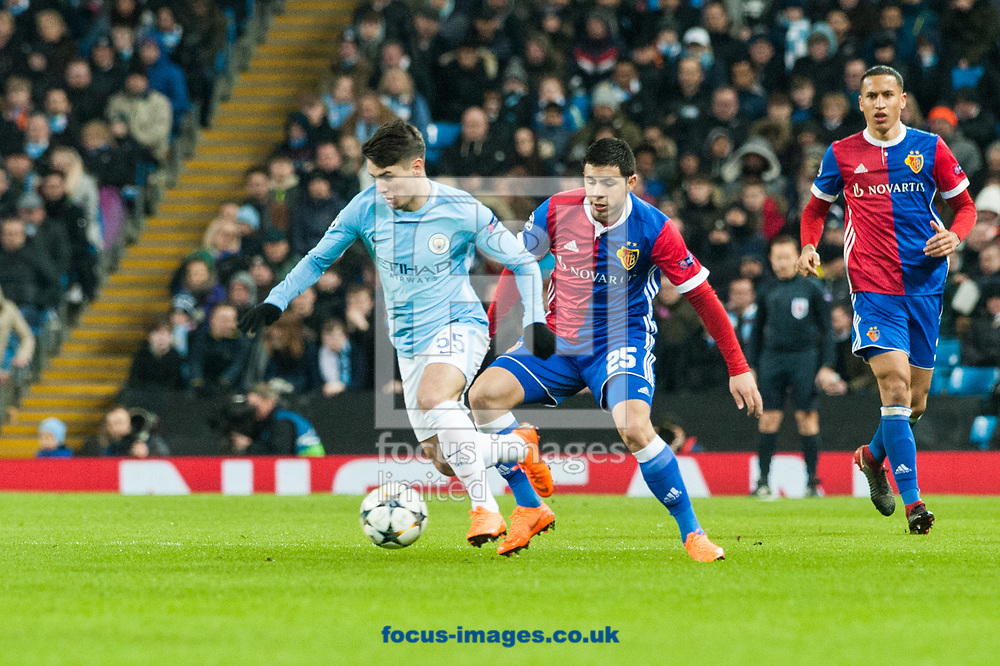 Brahim Diaz of Manchester City holds the ball up ahead of Blas Riveros of Basel during the UEFA Champions League match at the Etihad Stadium, Manchester<br /> Picture by Matt Wilkinson/Focus Images Ltd 07814 960751<br /> 06/03/2018