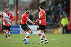 Exeter City's Alex Nicholls celebrates his goal with Exeter City's Danny Butterfield - Photo mandatory by-line: Dougie Allward/JMP - Mobile: 07966 386802 - 31/01/2015 - SPORT - Football - Exeter - St James Park - Exeter City v Tranmere Rovers - Sky Bet League Two