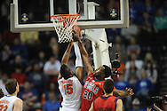 Ole Miss' Nick Williams (20) vs. Florida's Will Yeguete (15) in the SEC championship game at Bridgestone Arena in Nashville, Tenn. on Sunday, March 17, 2013.