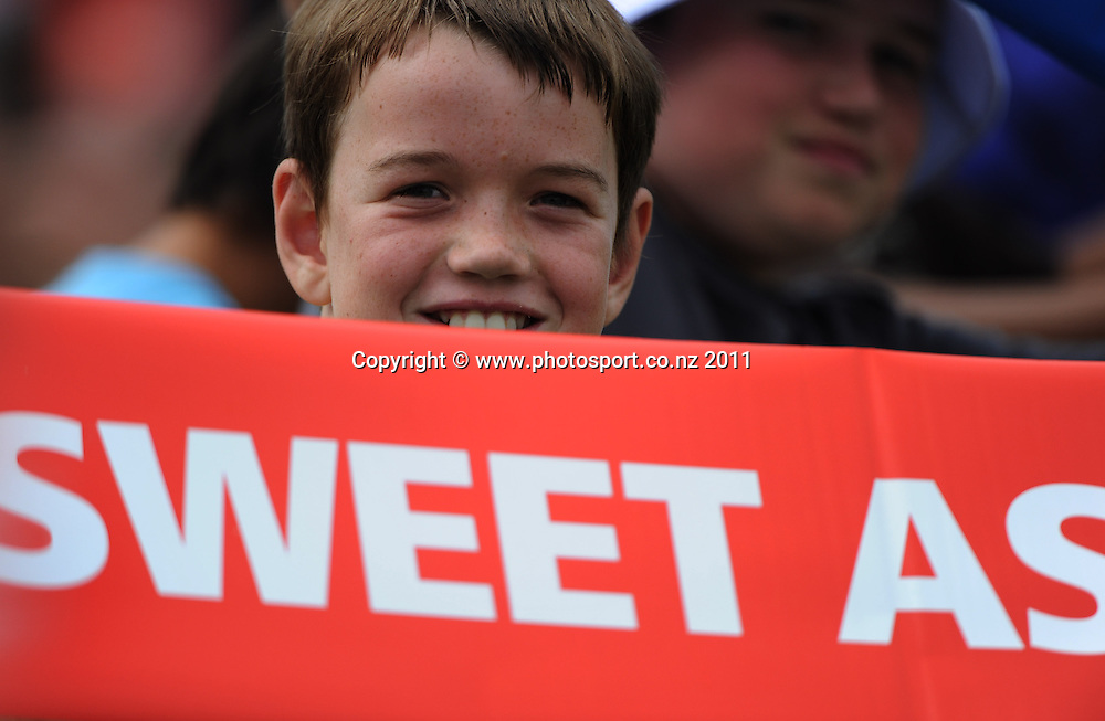 Cricket fan during the HRV Twenty20 Cricket Final between the Auckland Aces and Canterbury Wizards at Colin Maiden Oval in Auckland, New Zealand on Sunday 22 January 2012. Photo: Andrew Cornaga/Photosport.co.nz