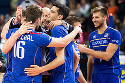 17-10-2015 BUL: Volleyball European Championship Frankrijk - Bulgarije, Sofia<br /> Semifinal in Arena Armeec Sofia / Nicolas Marechal #16 of France, Jonas Aguenier #1 of France celebrate<br /> Photo: Vid Ponikvar / RHF<br /> +++USE NETHERLANDS ONLY+++