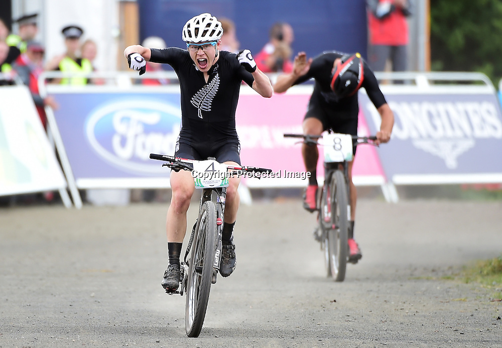 New Zealand's Anton Cooper who won gold in the Men's Cross Country at the Cycling Mountain Bike. Glasgow Commonwealth Games. 29 July 2015. Photo: Alex Broadway / www.Photosport.co.nz