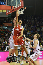 25.02.2014, Audi Dome, Muenchen, GER, Beko Basketball BL, FC Bayern Muenchen Basketball vs Artland Dragons, 22. Runde, im Bild Yassin Idbihi (FC Bayern Muenchen Basketball) Chad Topper (Artland Dragons), v li Aktion // during the Beko Basketball Bundes league 22. round match between FC Bayern Munich Basketball and Artland Dragons at the Audi Dome in Muenchen, Germany on 2014/02/25. EXPA Pictures © 2014, PhotoCredit: EXPA/ Eibner-Pressefoto/ Buthmann<br /> <br /> *****ATTENTION - OUT of GER*****
