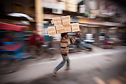 Man Carrying Boxes - Chandni Chowk, Old Delhi, India