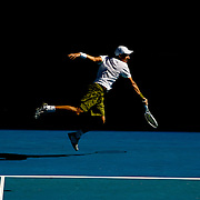 Novak Djokovic of Serbia in action against Andy Roddick of the USA  at the Australian Tennis Open on January 27, 2009 in Melbourne, Australia. Photo Tim Clayton    .