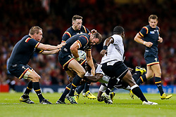 Wales Inside Centre Jamie Roberts is tackled - Mandatory byline: Rogan Thomson/JMP - 07966 386802 - 01/10/2015 - RUGBY UNION - Millennium Stadium - Cardiff, Wales - Wales v Fiji - Rugby World Cup 2015 Pool A.