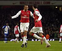 Photo: Olly Greenwood.<br />Arsenal v Blackburn Rovers. The Barclays Premiership. 23/12/2006. Arsenal's Robin Van Persie celebrates scoring with Gilberto