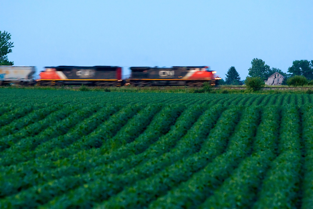 A southbound Canadian National freight train speeds across the rolling fields near Gilman, IL after sunset on a warm summer evening.