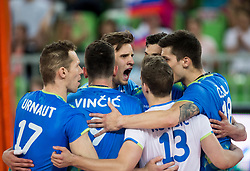 Jan Kozamernik of Slovenia and other players celebrate during volleyball match between National teams of Slovenia and Portugal in 2nd Round of 2018 FIVB Volleyball Men's World Championship qualification, on May 26, 2017 in Arena Stozice, Ljubljana, Slovenia. Photo by Vid Ponikvar / Sportida