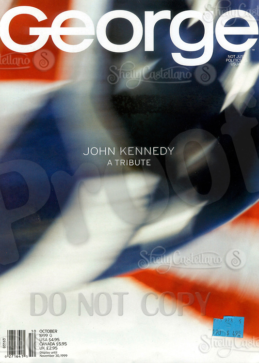 Oct 01, 1999; New York, NY, USA; Cover Scan of JOHN KENNEDY'S 'GEORGE' Magazine. A Tribute to the founding editor John F. Kennedy, Jr. October 1999 issue.  Cover photo of Old Glory (American Flag).  On July 19, 1999 JFK Jr and his wife died when their plane crashed off the coast of Martha's Vineyard. <br />