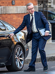 © Licensed to London News Pictures. 24/03/2020. London, UK. Michael Gove, Chancellor of the Duchy of Lancaster is seen in Westminster this morning as Prime Minister Boris Johnson orders a police enforced lock-down on the UK as people are banned from leaving home except for food, medical reasons, exercise and essential work as the coronavirus crisis continues. Photo credit: Alex Lentati/LNP