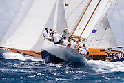 Argyll sailing in the Antigua Classic Yacht Regatta, Old Road Race.