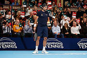 Tommy Haas makes his first challenge, decided by the crowd, during the Men's Final of the Champions Tennis match at the Royal Albert Hall, London, United Kingdom on 9 December 2018. Picture by Ian Stephen.