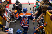 KELOWNA, CANADA - OCTOBER 2: Drake Caggiula #36 of the Edmonton Oilers enters the ice against Los Angeles Kings on October 2, 2016 at Kal Tire Place in Vernon, British Columbia, Canada.  (Photo by Marissa Baecker/Shoot the Breeze)  *** Local Caption *** Drake Caggiula;