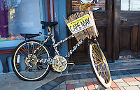 A bicycle spots a Cape May, New Jersey license plate in the resort town of Cape May, NJ.