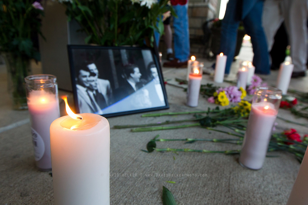BRANSON, MO - APRIL 18: Flowers and candles make up a candlelight vigil in honor of Dick Clark at Dick Clark's American Bandstand Theater on April 18, 2012 in Branson, Missouri.  (Photo by David Welker/Getty Images)*** Local Caption ***