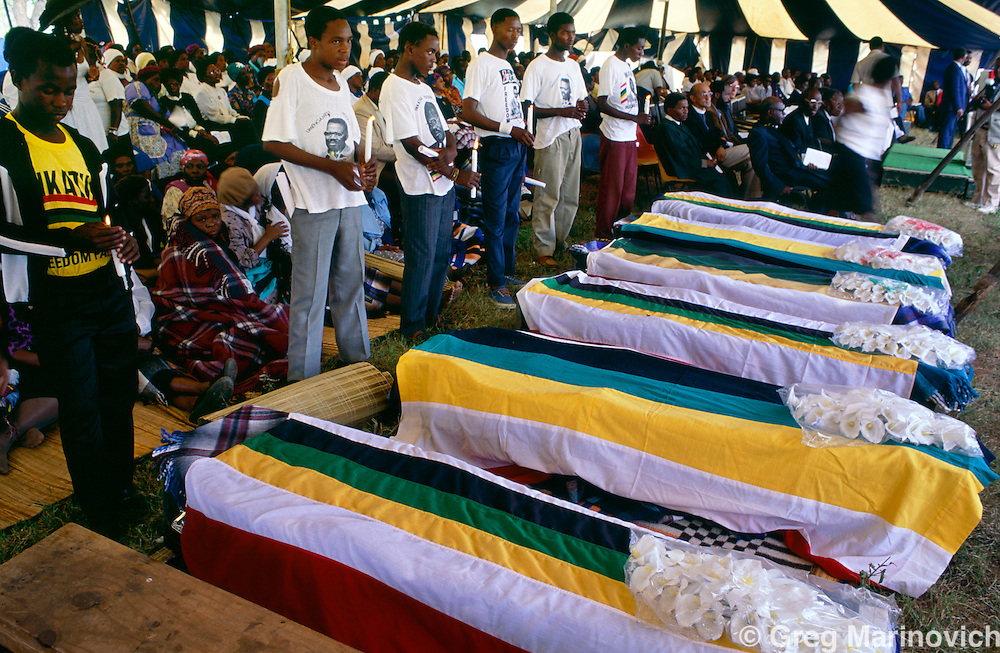 A mass funeral for Inkatha Freedom Party members killed in fighting with ANC supporters, KwaZulu Natal, South Africa. 1993