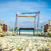 Wedding setup by the beach. Hotel Grand Velas Riviera Maya