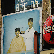 Hand-painted Barber Shop, Harar, town listed as World Heritage by UNESCO, Ethiopia, Africa