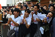 Tottenham fans with camera phones ready to get a pic of their favourite players arriving before the Premier League match between Bournemouth and Tottenham Hotspur at the Vitality Stadium, Bournemouth, England on 4 May 2019.