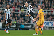 Jonjo Shelvey (Newcastle United) takes a shot during the EFL Cup 4th round match between Newcastle United and Preston North End at St. James's Park, Newcastle, England on 25 October 2016. Photo by Mark P Doherty.