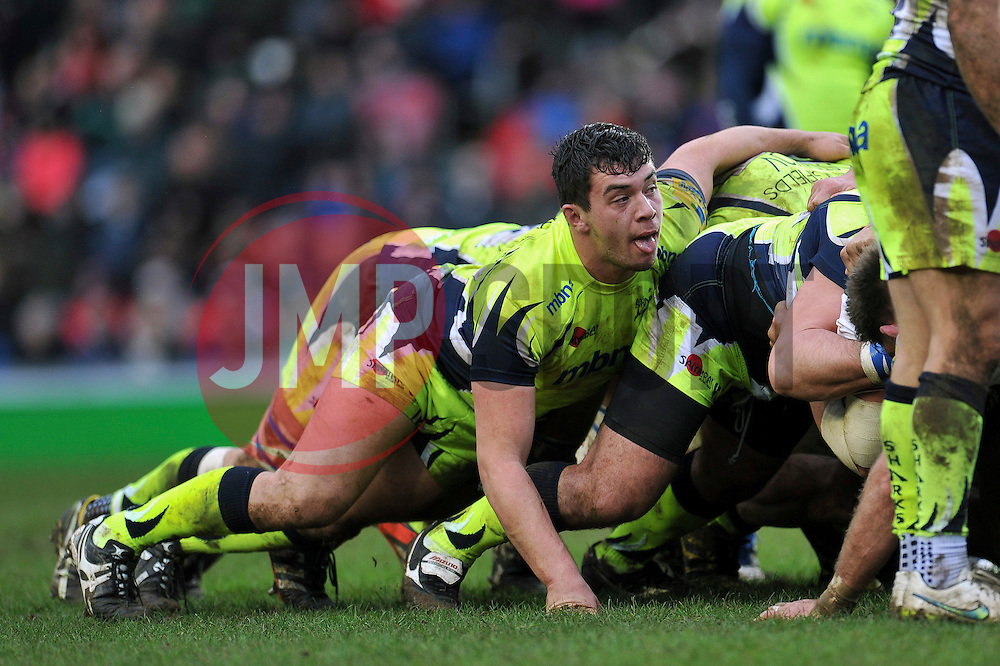 Cameron Neild of Sale Sharks in action at a scrum - Mandatory byline: Patrick Khachfe/JMP - 07966 386802 - 06/02/2016 - RUGBY UNION - Welford Road - Leicester, England - Leicester Tigers v Sale Sharks - Aviva Premiership.