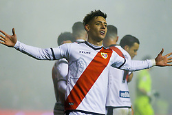 December 23, 2018 - Madrid, Madrid, SPAIN - Alex Moreno of Rayo Vallecano celebrating a goal during La Liga Spanish championship, , football match between Rayo Vallecano and Levante, December 23, in Vallecas Stadium, Madrid, Spain. (Credit Image: © AFP7 via ZUMA Wire)