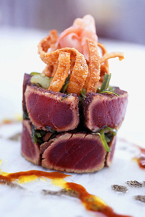 Appetizer of Tuna Tataki,ginger,seaweed,balsamic vinigrette.food photographer,miami,<br />