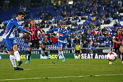 November 30, 2017 - Barcelona, Catalonia, Spain - Gerard Moreno scores a penalty during the Copa del Rey match between RCD Espanyol and CD Tenerife,i n Barcelona, on November 30, 2017. (Credit Image: © Joan Valls/NurPhoto via ZUMA Press)