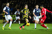 Millwall FC goalkeeper Jordan Archer clears the ball from Burton Albion forward Timmy Thiele during the Sky Bet League 1 match between Burton Albion and Millwall at the Pirelli Stadium, Burton upon Trent, England on 1 December 2015. Photo by Aaron Lupton.