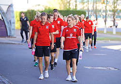 ASTANA, KAZAKHSTAN - Sunday, September 17, 2017: Wales' Loren Dykes and Jessica Fishlock during a pre-match walk ahead of the FIFA Women's World Cup 2019 Qualifying Round Group 1 match against Kazakhstan. (Pic by David Rawcliffe/Propaganda)
