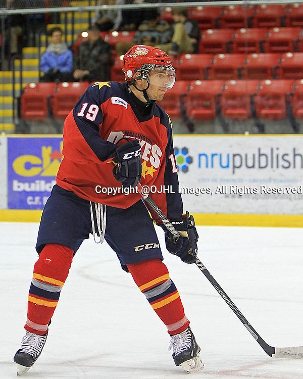 WELLINGTON, Ontario - September 19,2014 : Ontario Junior Hockey League game action between Mississauga and Wellington, Joe McKeown #19 of the Wellington Dukes Hockey Club.<br /> (Photo by Ed McPherson / OJHL Images)