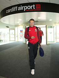 CARDIFF, WALES - Monday, September 10, 2012: Wales' Chris Gunter arrives at Cardiff Airport as the side travel to Serbia for the 2014 FIFA World Cup Brazil Qualifying Group A match in Novi Sad. (Pic by David Rawcliffe/Propaganda)